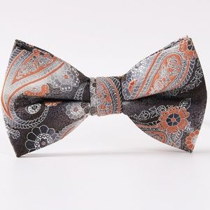 Other - Bow Tie Gray Peach Paisley Adjustable